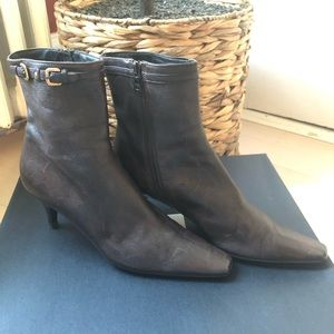 PRADA Pebbled Leather Buckle Ankle Bootie